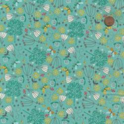"""Tissu flowers vert """" Walk in the park"""" - MAKOWER"""