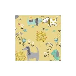 """Tissu chien d'or """" Walk in the park"""" - MAKOWER"""