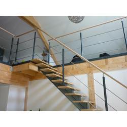 escalier acier, inox et bois